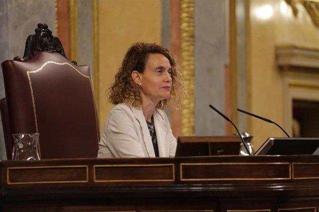 La presidenta del Congreso de los Diputados, Meritxell Batet, durante la primera sesión de control al Gobierno en el Congreso de los Diputados tras el estado de alarma, en Madrid (España), a 24 de junio de 2020. El Congreso da esta semana un paso más haci