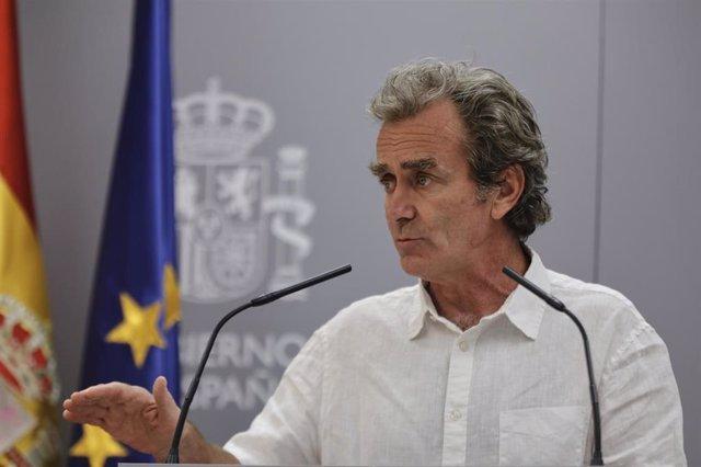 El director del Centro de Coordinación de Alertas y Emergencias Sanitarias (CCAES), Fernando Simón, durante una rueda de prensa para informar de la evolución de la COVID-19, en Madrid (España), a 16 de julio de 2020.
