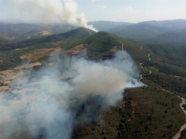 Imágen aérea del incendio de Valdelageve.