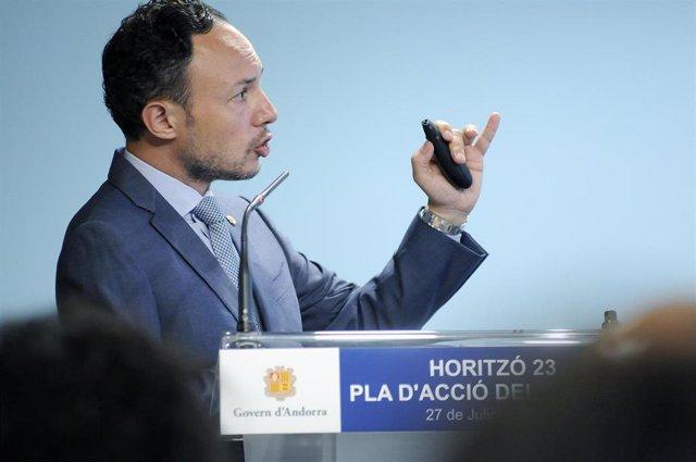 El jefe de Gobierno, Xavier Espot, presentando 'Horitzó 23', el nuevo plan de acción del Ejecutivo.