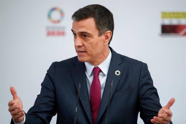El presidente del Gobierno, Pedro Sánchez, preside la presentación del Plan de Modernización de la Formación Profesional, en Moncloa, Madrid (España), a 22 de julio de 2020.