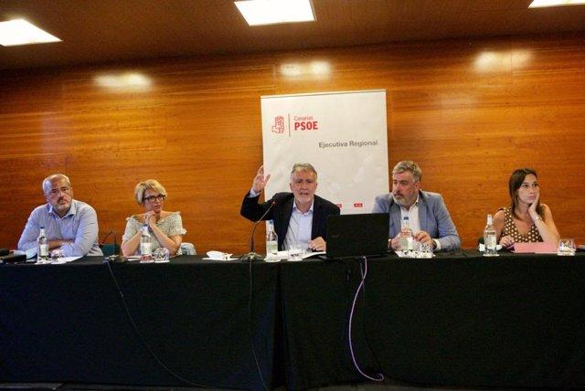 Reunión de la Comisión Ejecutiva del PSOE de Canarias para hacer balance del primer año de gestión al frente del Gobierno de Canarias, así como de la labor del Gobierno central de Pedro Sánchez
