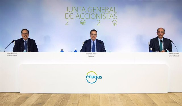 El presidente de Enagás, Antonio Llardén, y el consejero delegado, Marcelino Oreja, en la junta general de accionistas 2020 de la compañía
