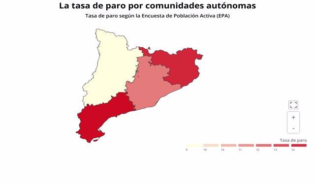 Tasa de paro en Cataluña del segundo trimestre del 2020 según la Encuesta de Población Activa (EPA)