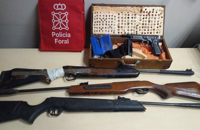 Armas incautadas por la Policía Foral