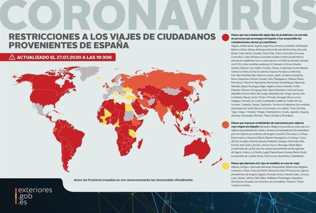 Mapa con los países que aplican prohibición de entrada, restricciones o cuarentena a personas llegadas de España