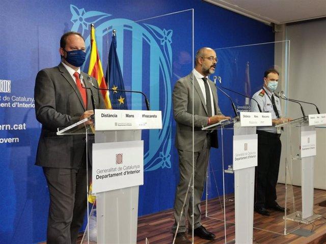 El director general de Mossos d'Esquadra Pere Ferrer, el conseller de Interior Miquel Buch y el comisario jefe de Mossos Eduard Sallent presentan el nuevo modelo de estructura del cuerpo. En Barcelona, 28 de julio de 2020.