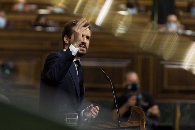 El president del PP, intervé des de la tribuna en una sessió plenària al Congrés. Madrid (Espanya), 29 de juliol del 2020.