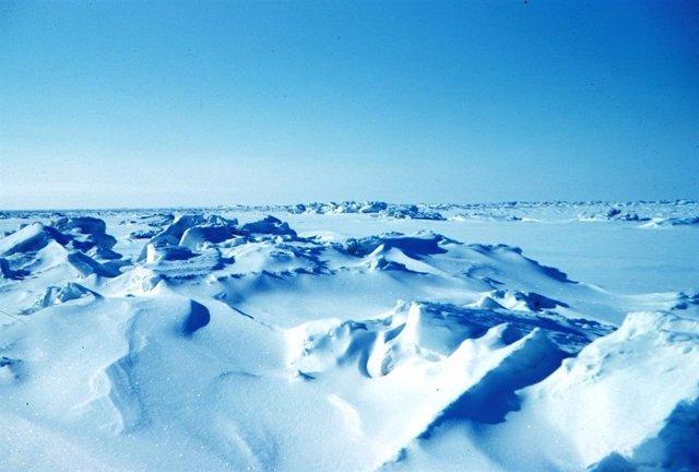 Una vista de la banquisa de Alaska. Tal vez así era toda la superficie de la Tierra durante la edad de hielo conocida como Tierra Bola de Nieve.