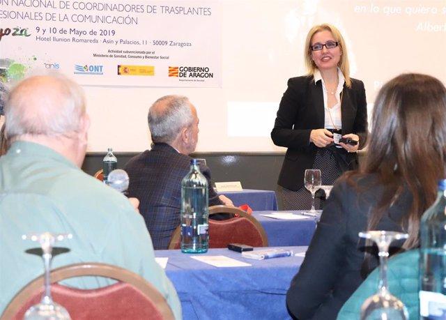 Beatriz Domínguez-Gil, directora de la Organización Nacional de Trasplantes en la XVI Reunión Nacional de Coordinadores de Trasplantes y Profesionales de la Comunicación en Zaragoza.
