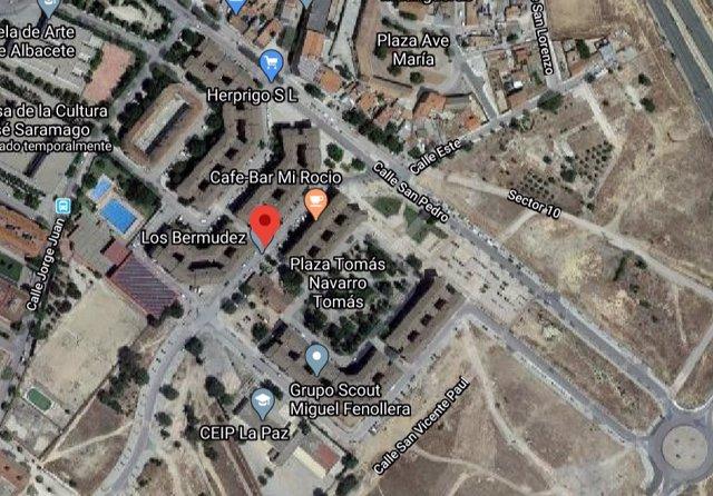 Ubicación del edificio afectado por un incendio en Albacete