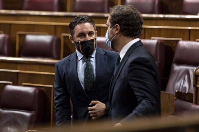 El president i el portaveu de Vox, Santiago Abascal i Iván Espinosa de los Monteros.