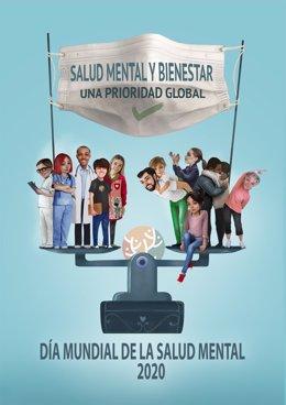 Imagen del movimiento asociativo SALUD MENTAL ESPAÑA para el Día Mundial de la Salud Mental 2020. Diseñada por Antonio Lorente.