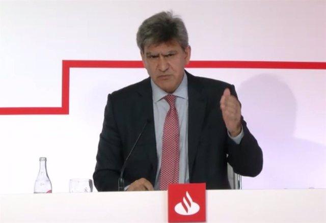 El consejero delegado de Banco Santander, José Antonio Álvarez, en la presentación de resultados del primer semestre de 2020.