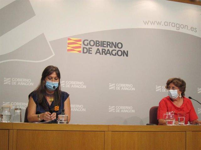 Sira Repollés y María Victoria Broto, en rueda de prensa.