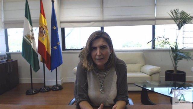 La consejera de Empleo, Rocío Blanco, este miércoles durante su participación telemática en la Asamblea de Cooperativas Agroalimentarias de Andalucía, que se celebra en Antequera (Málaga).