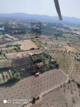 Imagen aérea de la parcela quemada.