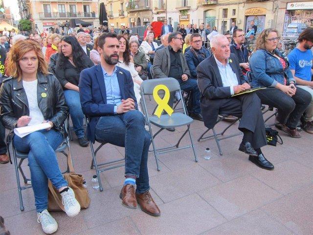 La número dos de ERC en Barcelona, Elisenda Alamany; el presidente del Parlament, Roger Torrent, y el candidato a la Alcaldía de Barcelona, Ernest Maragall