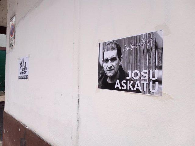 Cartel pidiendo la liberta de Josu Ternera en Ugao-Miraballes (Bizkaia).
