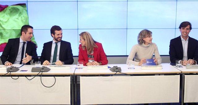 El president del PP, Pablo Casado, amb càrrecs de l'Executiva. Madrid (Espanya), 12 de novembre del 2019.