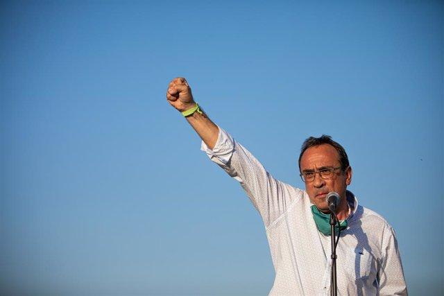 L'exconseller Josep Rull en una compareixença amb els altres presos de l'1-O abans d'ingressar a la presó de Lledoners. Sant Joan de Vilatorrada, Barcelona, Catalunya (Espanya), 28 de juliol del 2020.