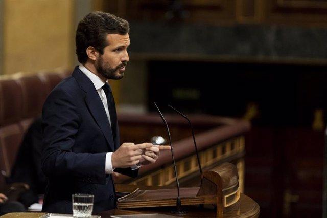 El presidente del PP, Pablo Casado, interviene en el Congreso de los Diputados.
