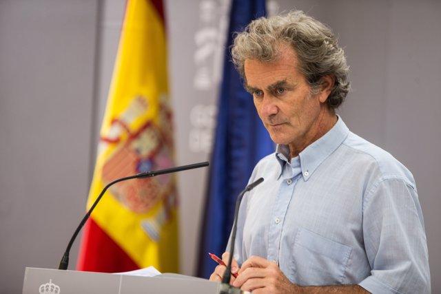 El director del Centro de Coordinación de Alertas y Emergencias Sanitarias (CCAES), Fernando Simón, durante una rueda de prensa para informar de la evolución de la COVID-19, en el Ministerio de Sanidad, en Madrid (España), a 30 de julio de 2020.