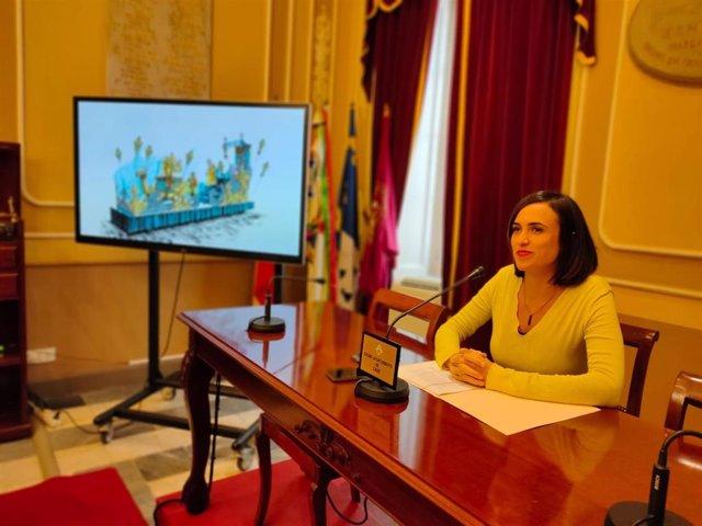 La delegada de Cultura y Fiestas, Lola Cazalilla, en la presentación de la Cabalgata de Reyes Magos de Cádiz