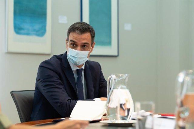 El presidente del Gobierno, Pedro Sánchez, preside la reunión del Comité de Seguimiento del COVID-19, en Moncloa, Madrid (España), a 24 de julio de 2020.