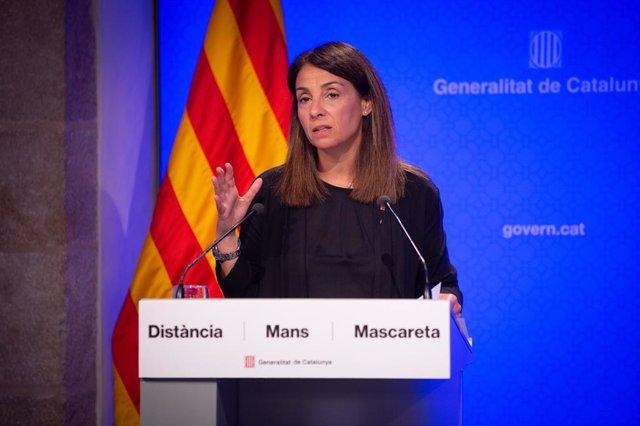 La portaveu del Govern, Meritxell Budó, en una conferència de premsa.