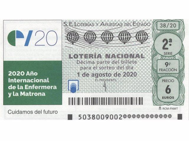 Cupón de Lotería Nacional por el Año Internacional de la Enfermera y la Matrona