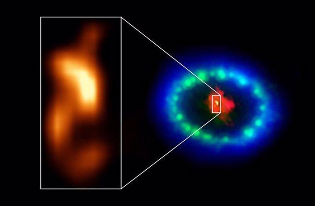 """Las Imágenes En Resolución Extremadamente Alta De ALMA Revelaron Una """"Mancha"""" Caliente En El Polvoriento Núcleo De Supernova 1987A."""
