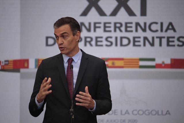El presidente del Gobierno, Pedro Sánchez, interviene en la XXI Conferencia de Presidentes.