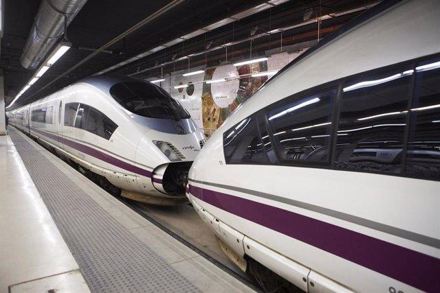 Trenes AVE en una estación.