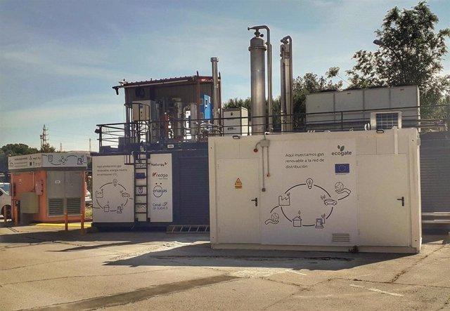 Instalación de gas renovable en la estación depuradora de aguas residuales de Butarque, en Madrid
