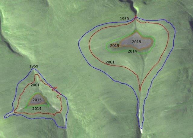 Ebolución en las últimas décadas de la amplitud de las capas de hielo de St. Patrick Bay