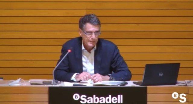 El CEO de Banco Sabadell, Jaime Guardiola, en la presentación de resultados del primer semestre de 2020.