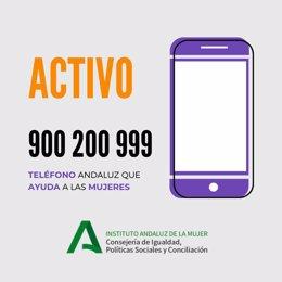Cartel del Teléfono de Atención a las Mujeres de Andalucía '900 200 999' del Instituto Andaluz de la Mujer