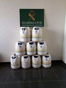 Imagen de las bombonas robadas que fueron recuperadas por la Guardia Civil