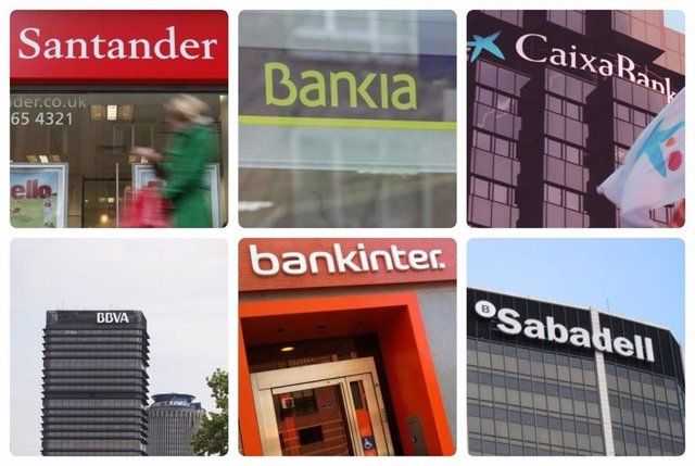Montaje de los logos de los seis bancos cotizados en España