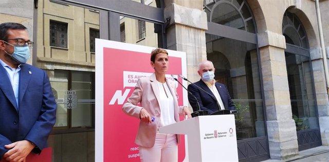 Javier Remírez, María Chivite y José Mª Aierdi en la rueda de prensa de presentación del Plan Reactivar Navarra 2020-2023