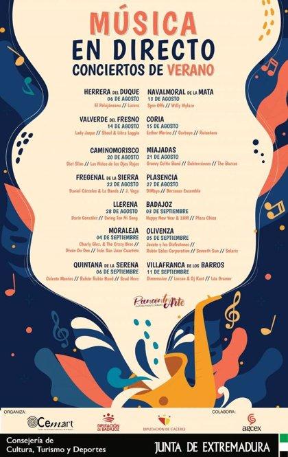 El programa de cultura en verano 'Reencontrarte' ofrece 35 conciertos de bandas regionales en 14 localidades extremeñas