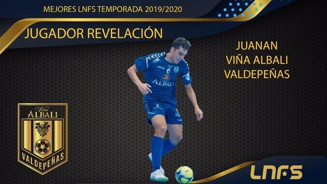 Imagen del anuncio de Juanan como ganador del premio a 'Jugador Revelación' de la LNFS 2019-2020