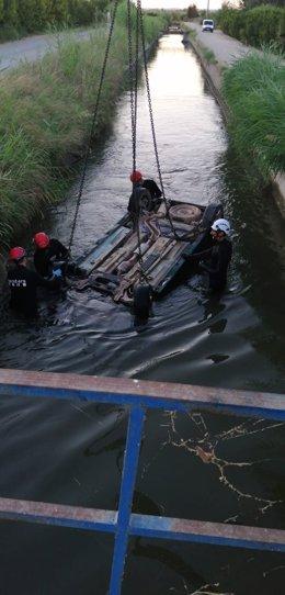 Accident al canal d'Urgell de Lleida.