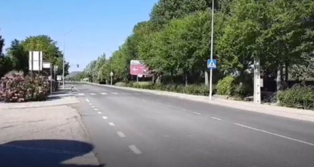 Una de las carreteras que atraviesa Pedrajas en Valladolid.