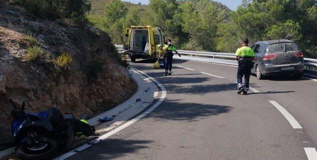 L'accident a Sant Jaume dels Domenys (Tarragona), en la carretera TP-2442.