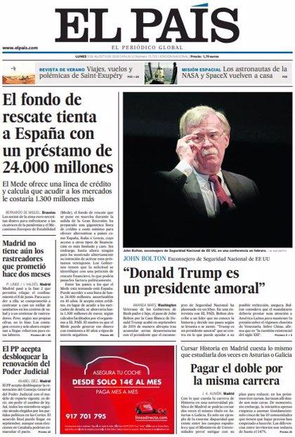 Las portadas de los periódicos del lunes 3 de agosto de 2020