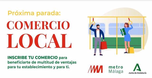 Campaña puesta en marcha por metro de Málaga para la promoción del comercio local más afectados por el COVID-19