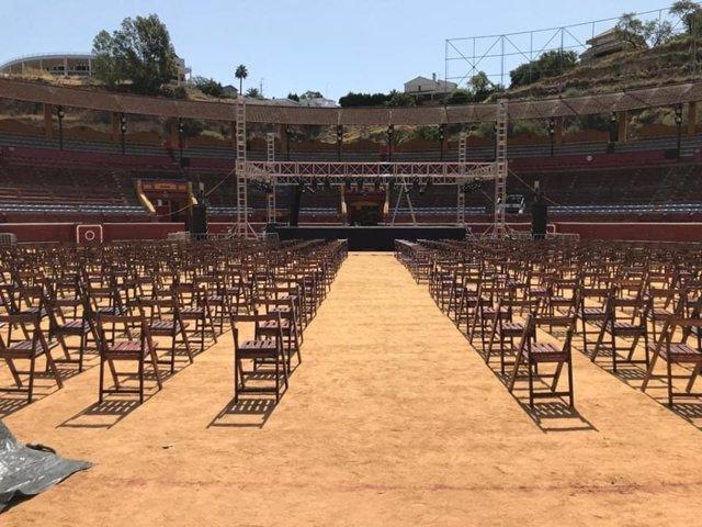 Disposición de los asientos en la plaza de toros de Huelva para los espectáculos