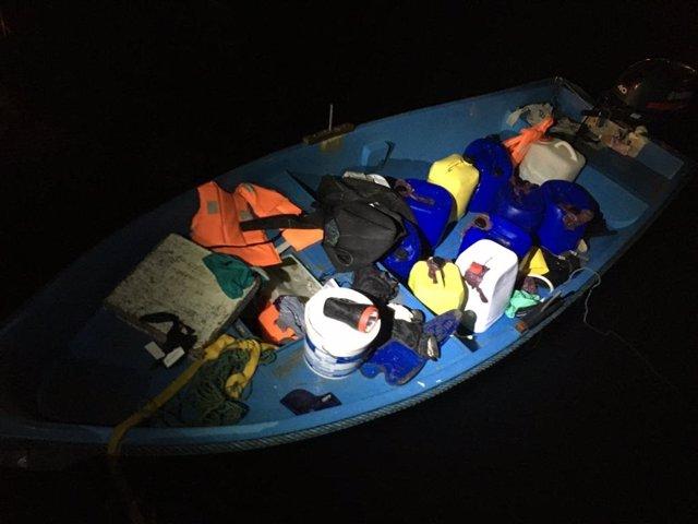 Embarcación llegada este domingo a Ibiza, con siete migrantes a bordo.